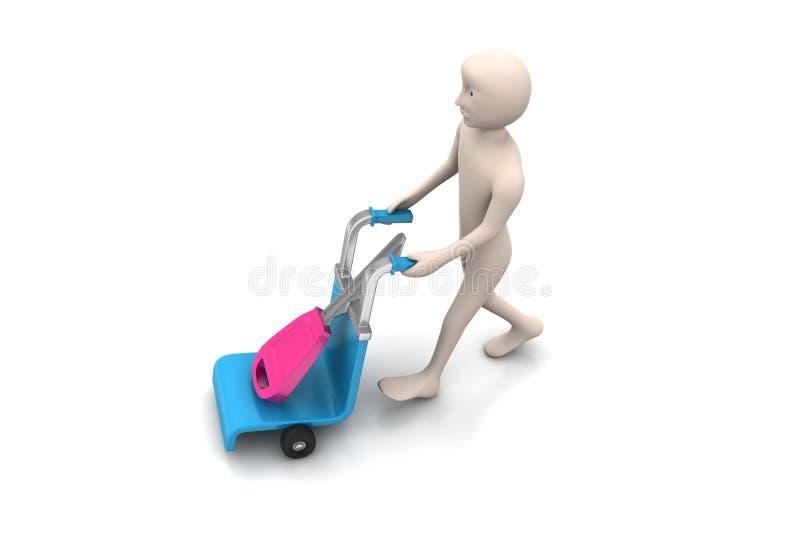 3d mensen dragend boodschappenwagentje met huissleutel stock illustratie