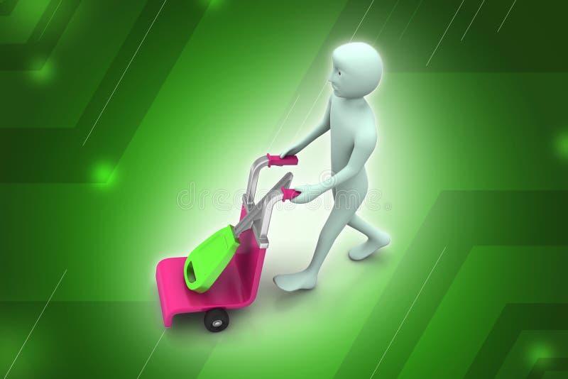 3d mensen dragend boodschappenwagentje met huissleutel royalty-vrije illustratie