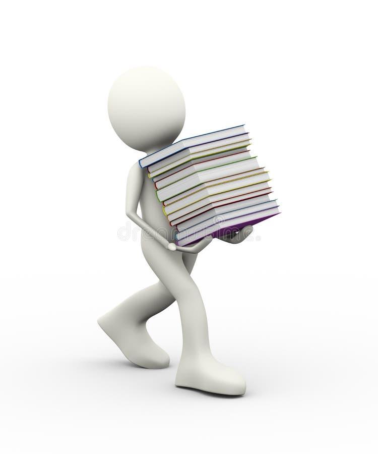 3d mensen dragende stapel van boeken royalty-vrije illustratie