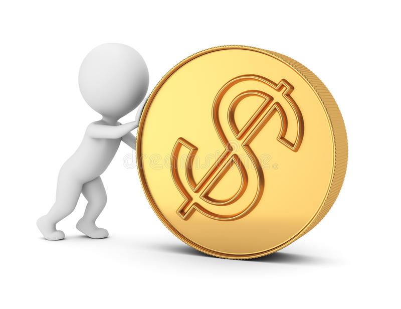 3d mensen duwend muntstuk vector illustratie