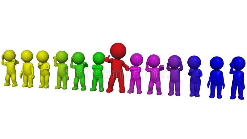 3D mensen - in een lijn worden geschikt die royalty-vrije illustratie