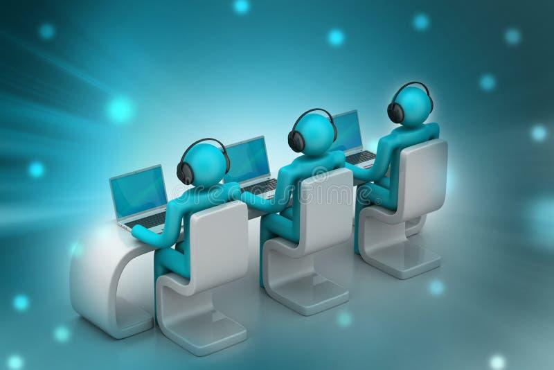 3d mensen in een modern bureau met laptop stock illustratie