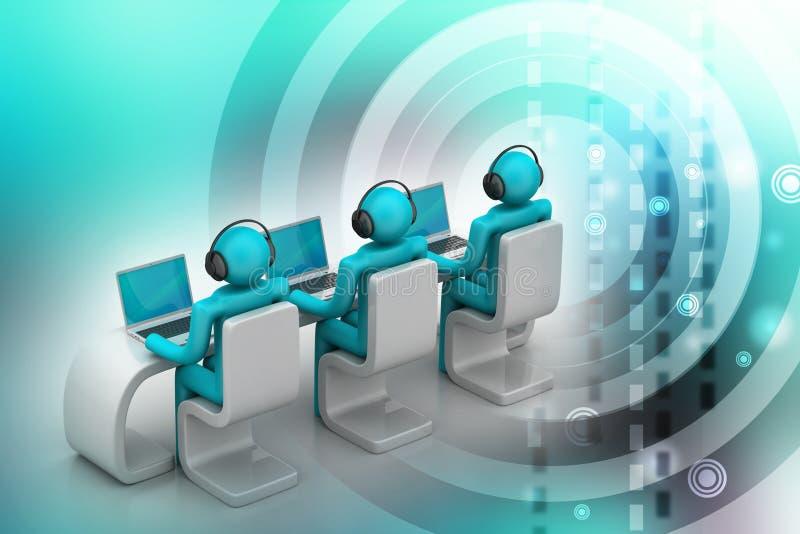 3d mensen in een modern bureau met laptop royalty-vrije illustratie