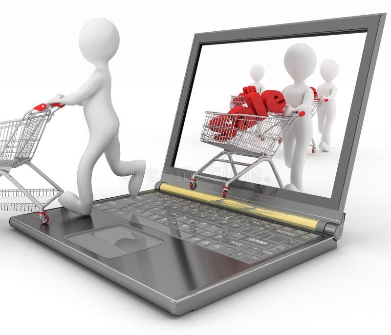 3d mensen en laptop, maken online aankopen stock illustratie