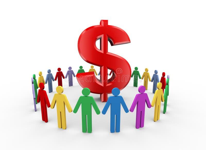 3d mensen en teken van het dollarsymbool vector illustratie