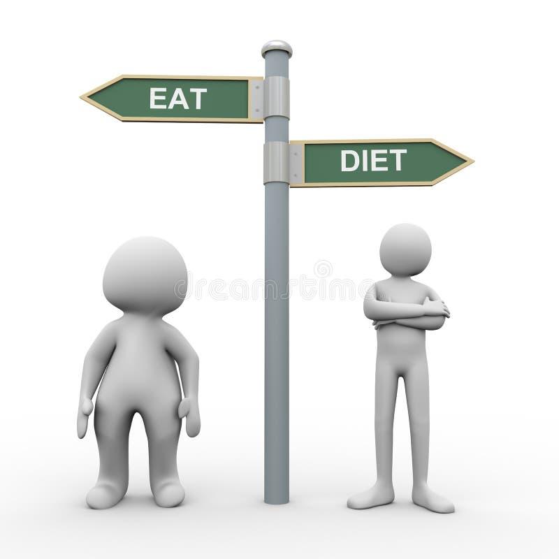 3d mensen eten dieetverkeersteken royalty-vrije illustratie