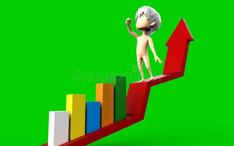 3d mensen - gelukkig menselijk karakter die zich op diagram en bars van succes bevinden vector illustratie