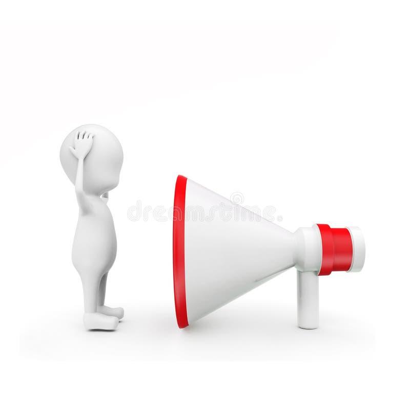 3d mensen hevig lawaai die uit luid sprekersconcept komen vector illustratie