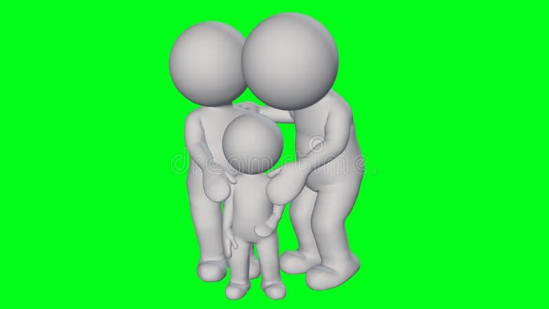 3D mensen - kleine familie stock illustratie