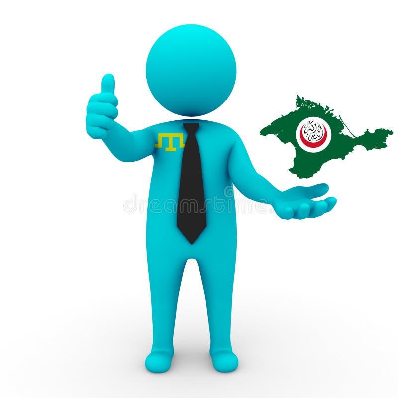 3d mensen Krimtatars zakenman - breng vlag van Krim-Organisatie van Islamitische Samenwerking in kaart Krimtatars zijn Moslims royalty-vrije illustratie
