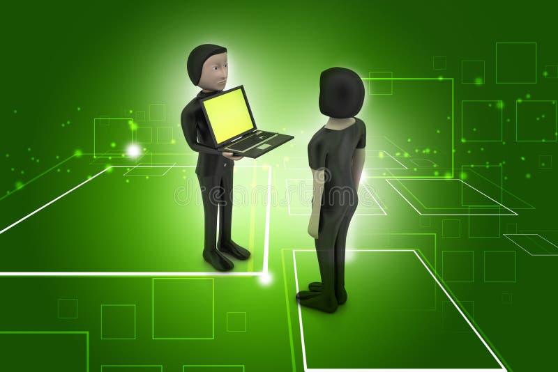 3d mensen maken bespreking met laptop royalty-vrije illustratie
