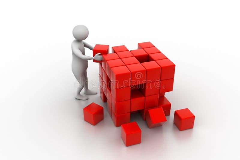 3d mensen - mens, persoon die een kubus duwen vector illustratie