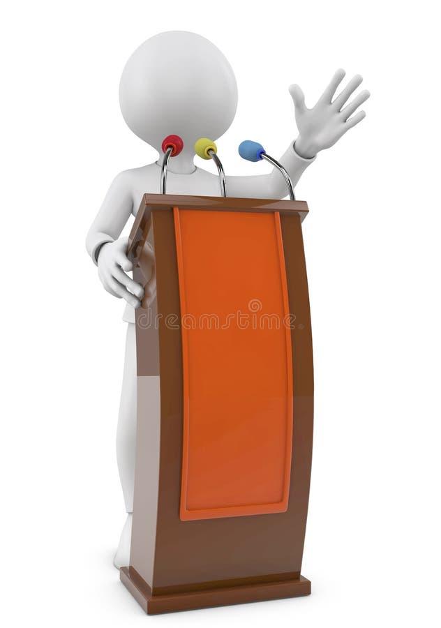 3d mensen - mens, persoon die van een tribune spreken toespraak royalty-vrije stock foto