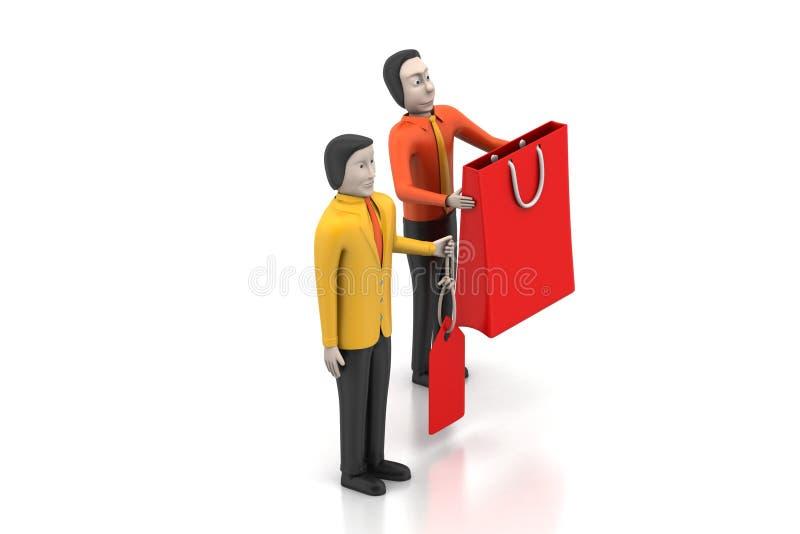 3d mensen met het winkelen zak royalty-vrije illustratie