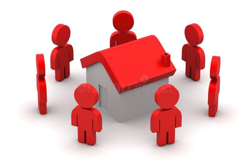 3d mensen met huis, onroerende goederenconcept royalty-vrije illustratie
