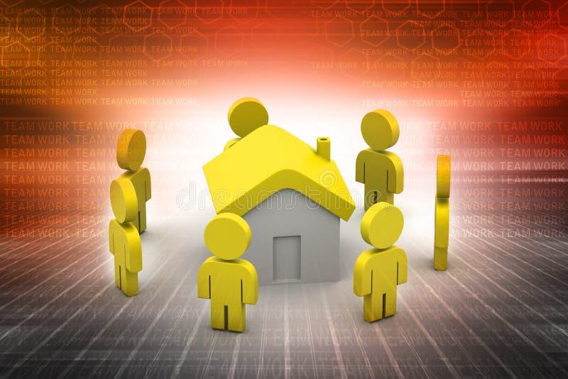 3d mensen met huis, onroerende goederenconcept vector illustratie