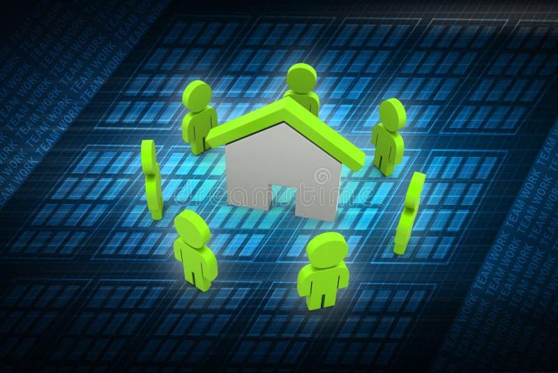 3d mensen met huis, onroerende goederenconcept stock illustratie