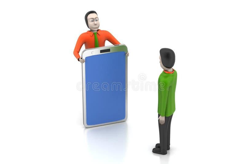 3d mensen met tabletcomputer vector illustratie
