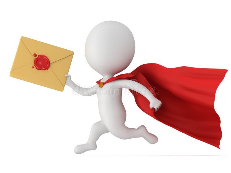 3d mensen moedige superhero en postenvelop stock illustratie