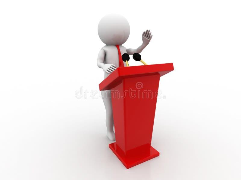 3d mensen - mensen, persoon die van een tribune spreken vector illustratie