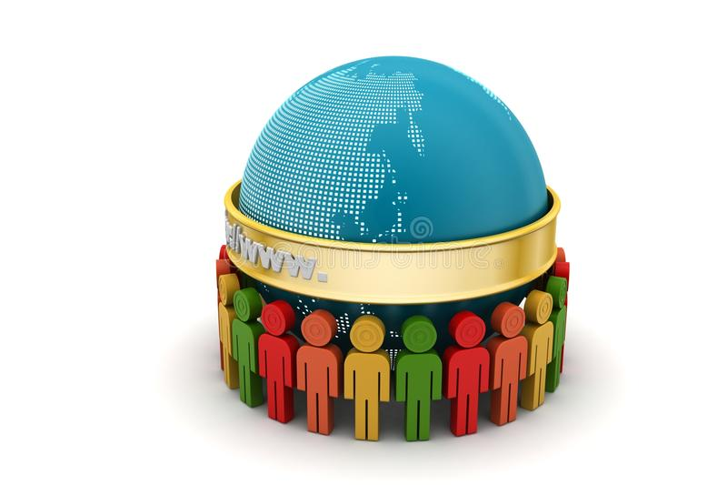 3d mensen rond de bol stock illustratie