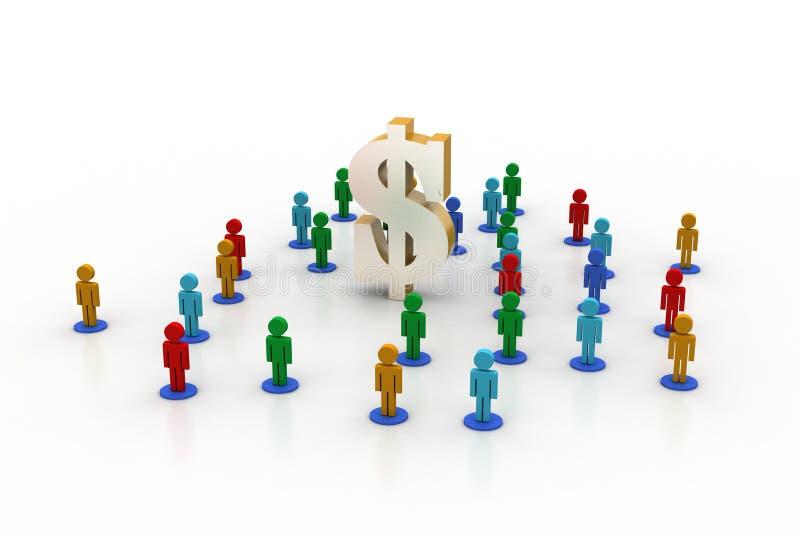 3d mensen rond de dollar ondertekenen stock illustratie