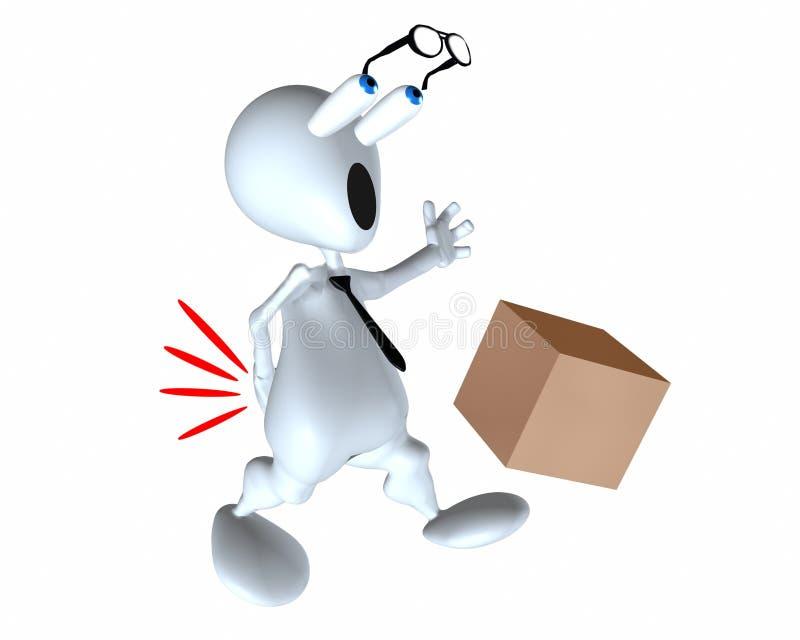 3d mensen rugletsel die een doos verkeerd opheffen vector illustratie
