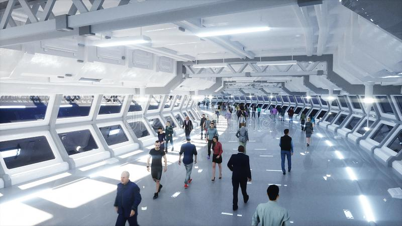 3d mensen in Sc.i-FI tonnel verkeer Concept toekomst het 3d teruggeven stock illustratie