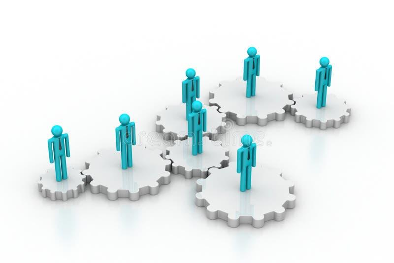 3d mensen in toestel, het concept van het teamwerk stock illustratie