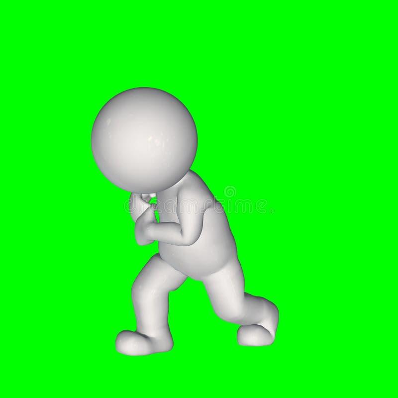 3D mensen - trekkracht iets 2 - het groene scherm stock illustratie