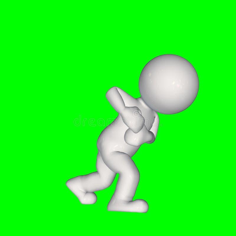 3D mensen - trekkracht iets 1 - het groene scherm royalty-vrije illustratie
