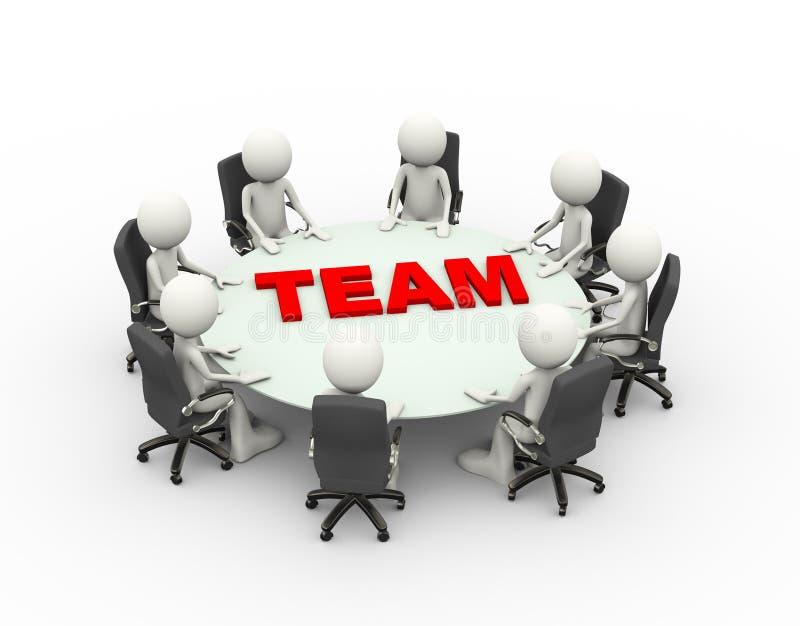 3d mensen van de commerciële het teamlijst vergaderingsconferentie royalty-vrije illustratie