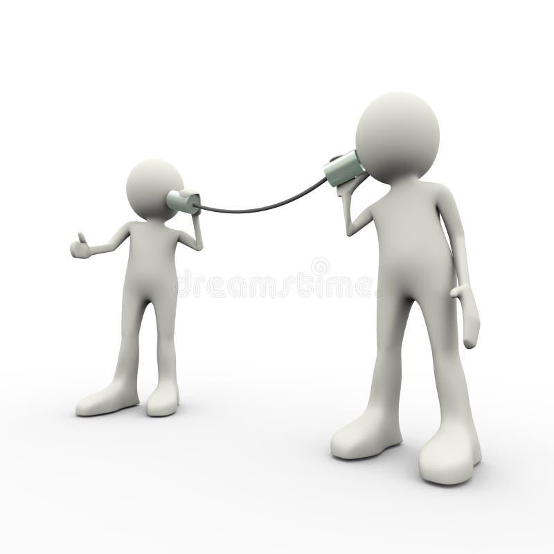 3d mensen van het communicatie metaal de telefoonconcept tinblik stock illustratie