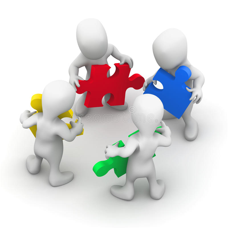 3d Mensen werken samen vector illustratie