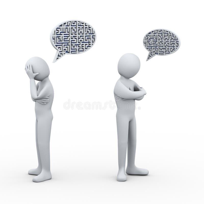 3d mensen zijn het labyrintlabyrint van de bellentoespraak strijdig stock illustratie