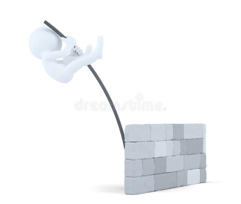 3D mensensprongen over de muur Geïsoleerde Bevat het knippen weg vector illustratie