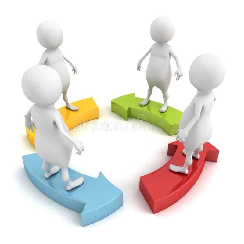 3d mensenteam op het gecirkelde concept van het werkpijlen stock illustratie