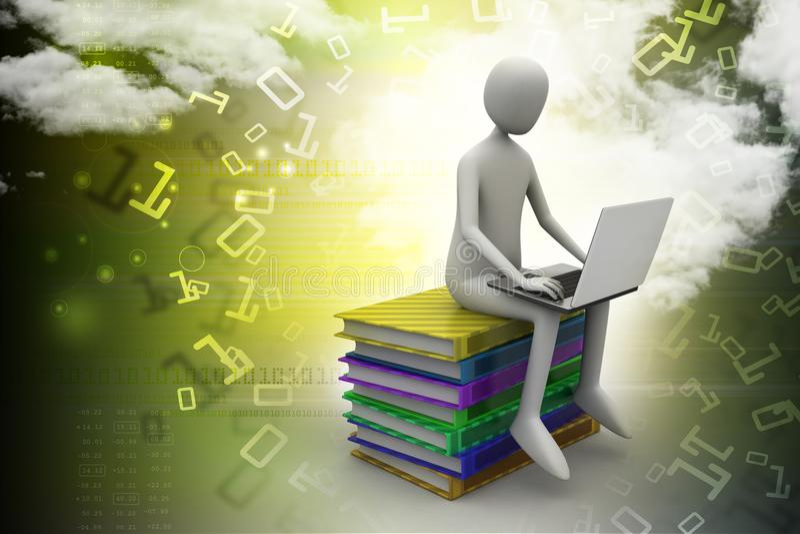 3d mensenzitting op boeken en het werken bij zijn laptop royalty-vrije illustratie