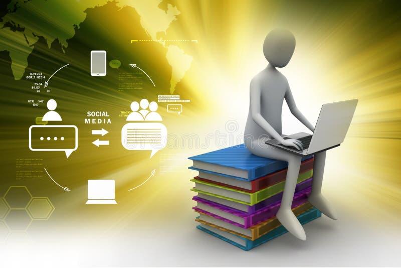 3d mensenzitting op boeken en het werken bij zijn laptop stock illustratie