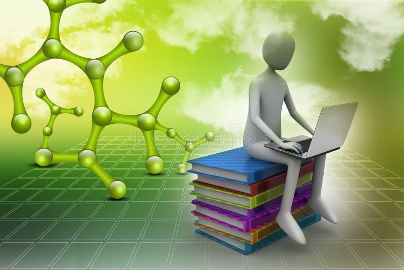 3d mensenzitting op boeken en het werken bij zijn laptop vector illustratie