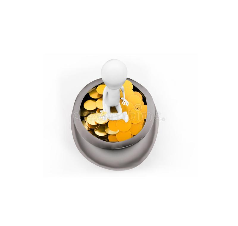 3d mensenzitting op een emmer die gouden muntstukken daarin bevatten concept stock illustratie