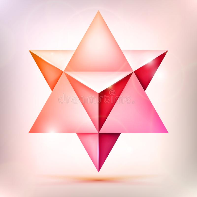 3d Merkaba, esoteric crystal, sacral geometry shape, volume pink and orange star with light effect, unreal form, abstract vector o. Bject royalty free illustration