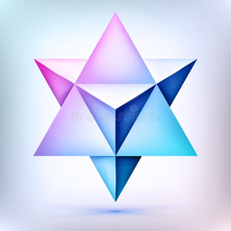 3d Merkaba, esoteric crystal, sacral geometry shape, volume star, mesh form, abstract vector object royalty free illustration