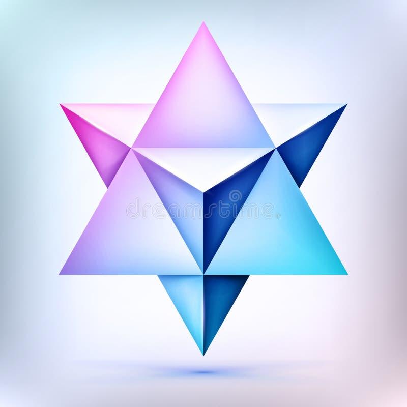 3d Merkaba, esoterisk kristall, sacral geometriform, volymstjärna, ingreppsform, abstrakt vektorobjekt royaltyfri illustrationer