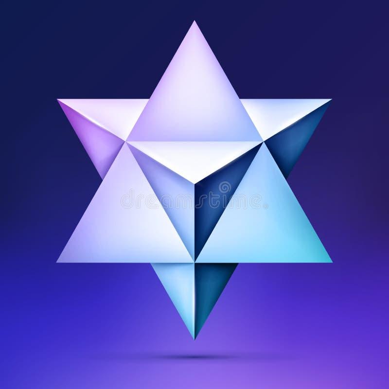3d Merkaba, forma cristalina, sacra esotérica de la geometría, estrella del volumen en el fondo oscuro, forma de la malla, objeto ilustración del vector
