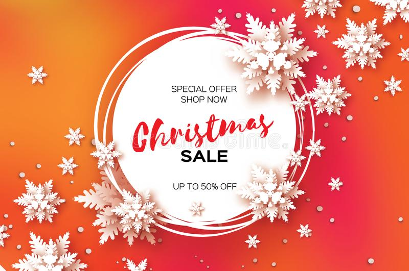 3D Merry Christmas Big Sale for Promotion. 50 . Buy now. Paper cut Snowflakes banner. Origami Decorations. Snowy winter royalty free illustration