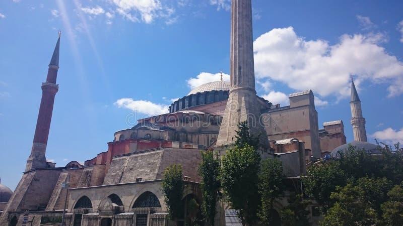 D?mes et minarets de Hagia Sophia dans la vieille ville d'Istanbul, Turquie, sur le coucher du soleil images stock