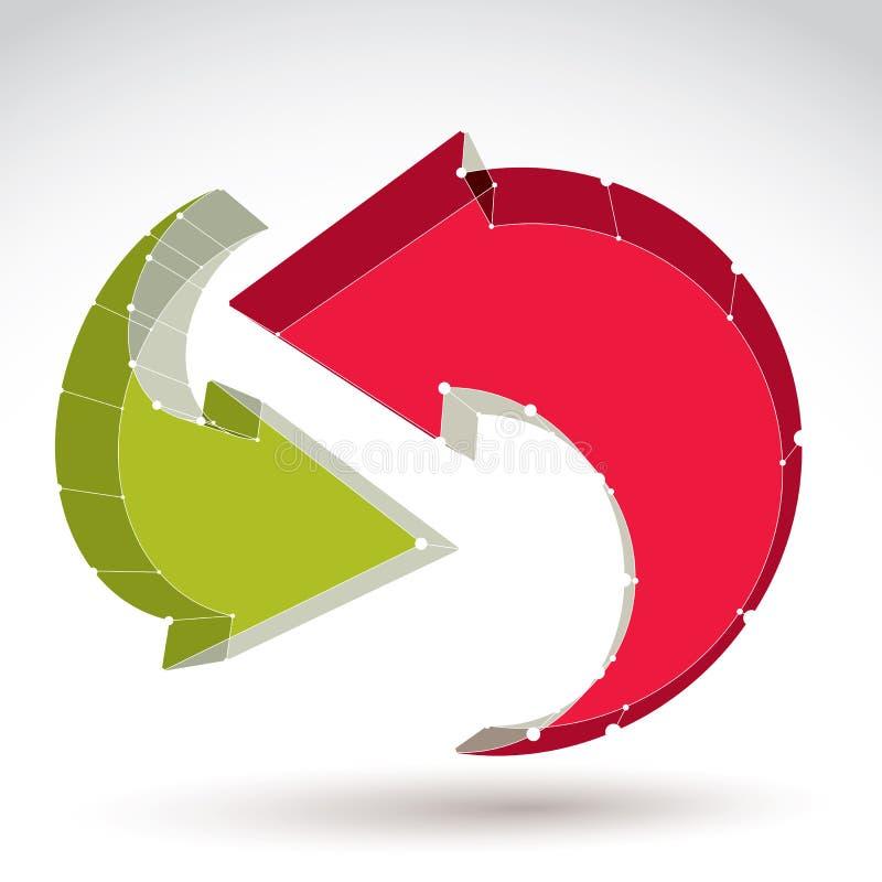 3d mesh stylish web update sign isolated on white background, co royalty free illustration