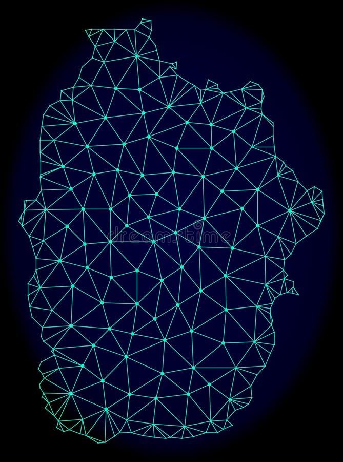 2D Mesh Vector Abstract Map poligonale delle Azzorre - isola del Flores illustrazione vettoriale