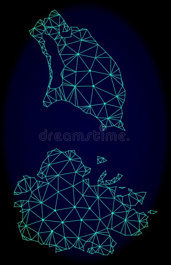 2D Mesh Vector Abstract Map polygonal de l'Antigua-et-Barbuda illustration de vecteur
